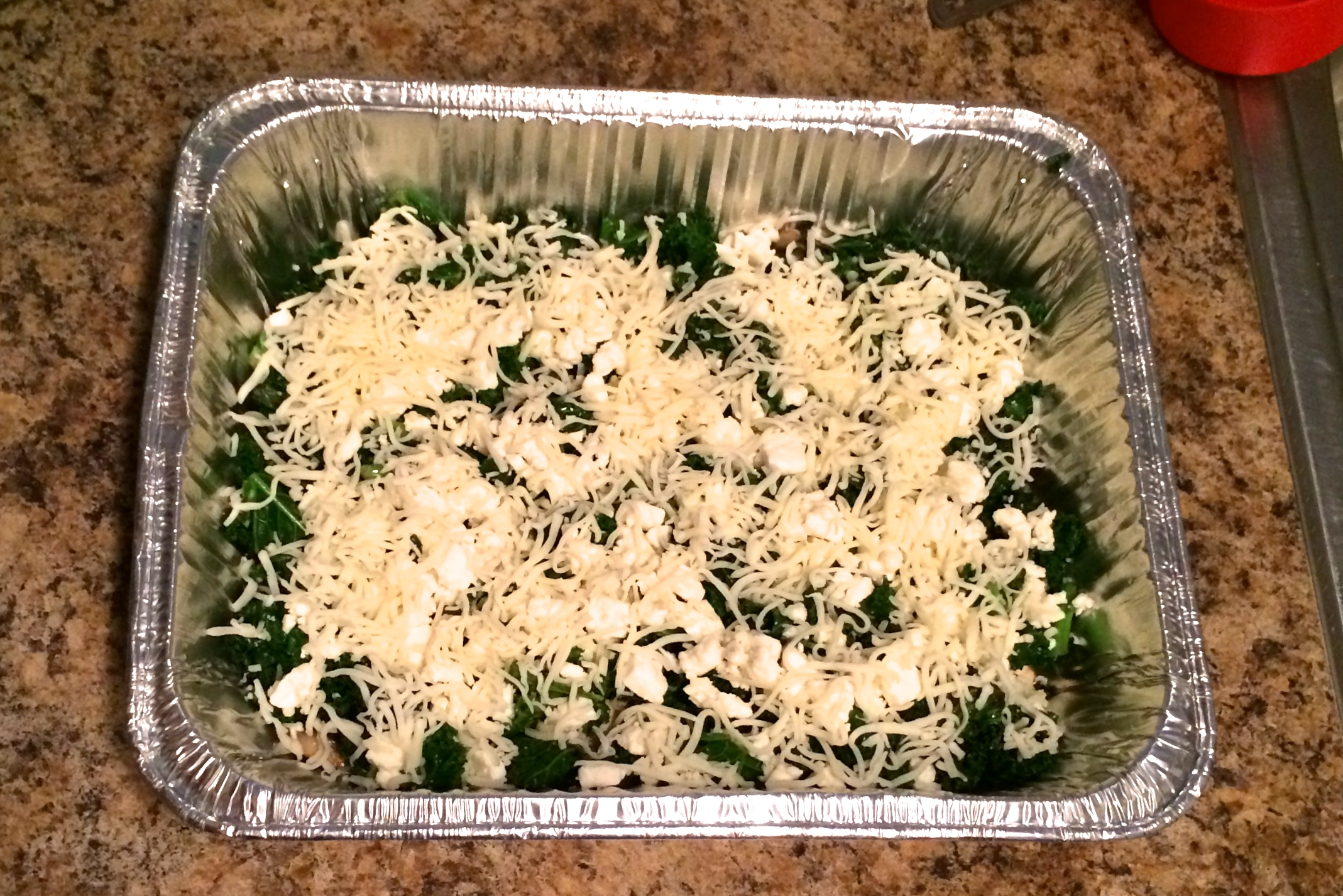 ... the top of the casserole shows a good mixture of mushrooms and kale
